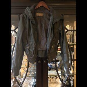 Fold over bomber jacket-charcoal